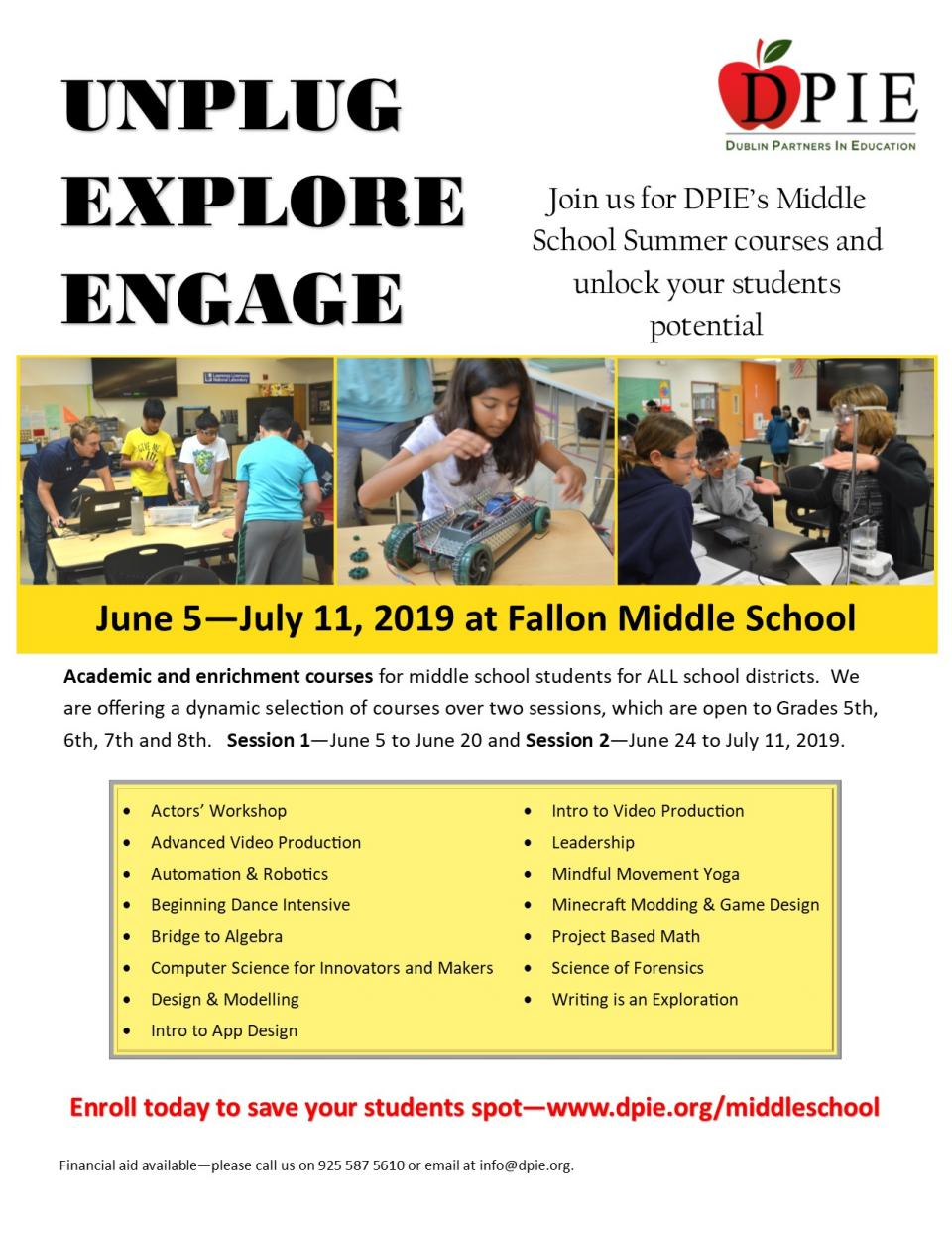 DPIE Middle School Summer Camps
