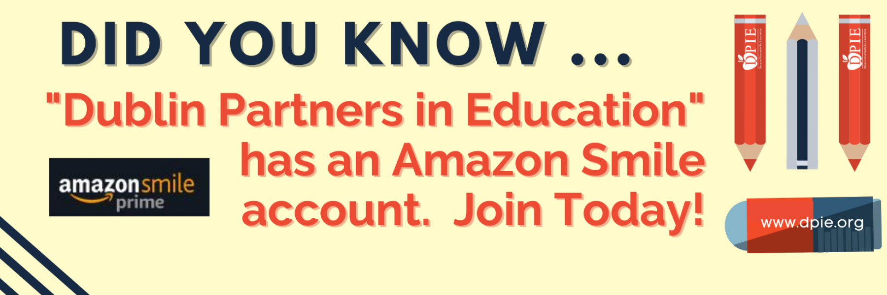 """Create an Amazon Smile account today and support """"Dublin Partners in Education"""""""